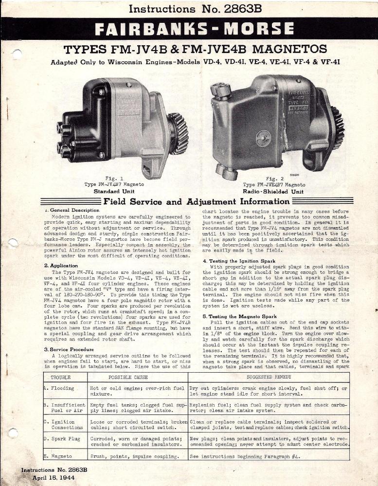 FMJV4B Fairbanks Morse Wisconsin V4 Magneto Manual